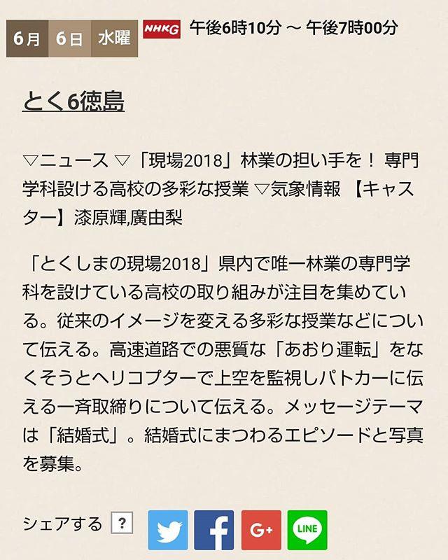 【那賀高校森林クリエイト科】明日6/6の夕方、NHKのとく6徳島(午後6時10分~午後7時)に那賀高校森林クリエイト科が登場予定です!昨年那賀町にて高校生が参加するという全国初の形式で開催された「木育円卓会議」でも活躍した森林クリエイト科の取組などが紹介されるとのこと、是非ご覧ください!#NHK #とく6徳島 #那賀高校 #森林クリエイト科 #tokushima #naka #那賀町 #林業 #木育 #木質化 #woodaction #wood #forest #WoodActionTokushima